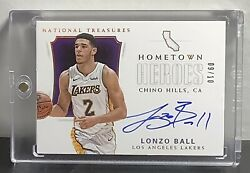 Lonzo Ball 2017 18 National Treasures Rookie Auto Hometown Heroes Gold 9 10