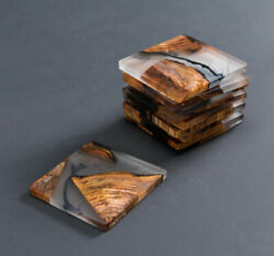 Wooden Coasters Epoxy Resin Coasters Wood Elegant Stylish Coasters Gift $27.99