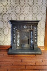 Dollhouse Miniature Fireplace Victorian Small Bedroom Resin Cast Iron Look 1:12 $9.00