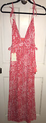 MAAJI Summer Girl Maxi Dress RED SNAKE PRINT Swim Cover Up size L NWT Resort $88.00
