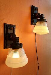 Antique Pair of Heavy Cast Iron Wall Sconces Lamp Fixtures Black Gold $225.00