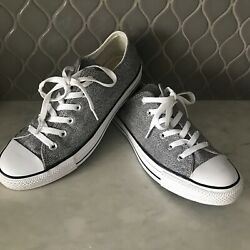 Converse All Star womens silver gray sparkly lace up sneakers size 9 EUC $25.00