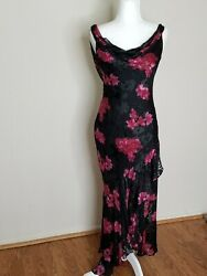 CACHE Black and Pink Floral Sequins Long Party Dress Size 8 $39.99