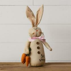Primitive AGED BUNNY RABBIT Doll Selling Carrots Stuffed 18quot; Tall Rustic Country $13.95