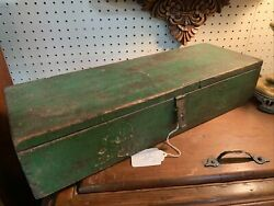 Vintage Antique Green Wood Tool Box With Lock $79.95
