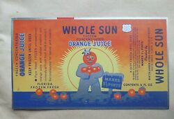 Vintage Whole Sun Orange Juice Unused Material For A Can Excellent Condition NOS $29.00