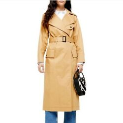 Topshop Editor Trench Coat Belted Classic Beige Long Maxi Women US 6 S NEW $150 $49.00