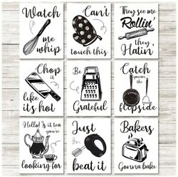 Kitchen Art Prints 9 Kitchenware Pieces with Sayings Wall Art Unframed Posters $18.98