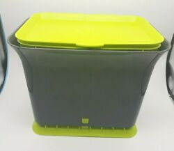 Trash Can for Home Bath Bedroom Kitchen Charcoal Grey amp; Green ON SALE $22.57