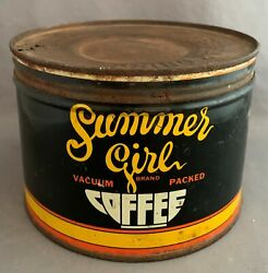 Vintage SUMMER GIRL Coffee Tin The H. D. Lee Mercantile Co Kansas City $58.50