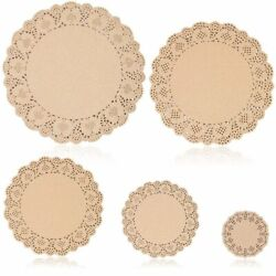 250pcs Brown Round Paper Doilies Lace for Art Craft Assorted for Party Décor $11.99