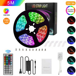 LED Strip Lights Kit 16.4ft 5050 RGB 150LED Strips with 44 Key IR Remote U4X0