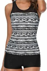 Yonique Racerback Tankini Swimsuits for Women with Shorts Black Size Large $13.99