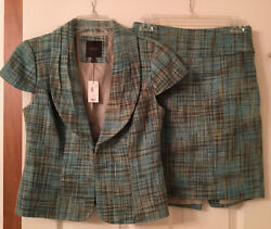 New The Limited Women 2 Piece Skirt Suit Set teal brown NWT S Jacket 0 skirt $15.00