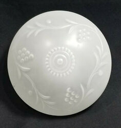 VINTAGE FROSTED GLASS CEILING LAMP SHADE COVER GRAPES WITH VINES $15.00