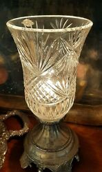 Vintage Torchiere Lamp Hand Cut Crystal Hurricane Light $67.95