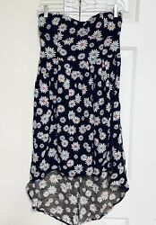 Feathers Dress Strapless Rayon Hi Low Sundress Daisy Floral Casual Beach Large $12.74