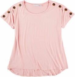 NY Collection Womens Solid Button Shoulder Top $9.25