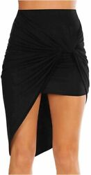 Sexy Mini Skirts for Women Bodycon High Waisted Boho High Black Size X Large f $13.99