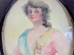 Watercolor Painting Woman Portrait Framed Victorian Western Antique $154.97
