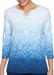 Alfred Dunner Plus Denim Friendly Medallion Ombre Top $22.20