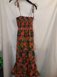 Anthropologie Farm Rio Womens Sundress Pink Floral Smocked Beaded Self Tie S New $55.99