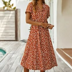 Women#x27;s Button Down Shirt Sleeve Boho Casual Loose Swing Floral Midi Long Dress $21.29
