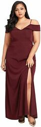 Women#x27;s Sexy Off Shoulder Spaghetti Straps Long Plus Size Wine Red Size 4.0 sy $11.70