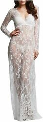 ZIUMUDY Sexy Deep V Neck Long Sleeve Lace Beach See Through White Size Large $11.25