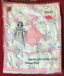 NEW vintage SEARS size S Small white cotton flannel peter pan collar nightgown $12.99