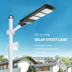 Solar LED Street Light Commercial Outdoor IP67 Area Security Road Lamp Dusk Dawn