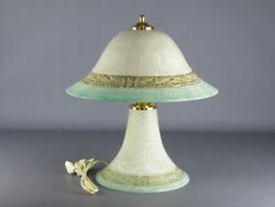 Vintage Table Lamp Glass With Decoration A Swirl Design 1980 $108.08