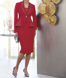 plus size 16W Red Adelia Skirt Suit Set by Ashro new $49.99
