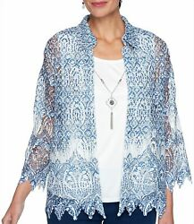 Alfred Dunner Plus Medallion Lace 2 For 1 Top $18.50