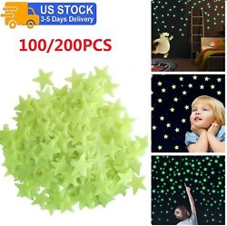 100 200PCS 3D Glowing in The Dark Stars for Ceiling Bedroom Wall Stickers Decal $8.99