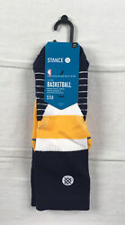 Stance Socks Men#x27;s Blue Yellow Poly Crew Socks NEW Multiple Sizes $21.85