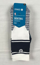 Stance Socks Men#x27;s White Navy Poly Crew Socks NEW Multiple Sizes $12.82