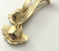 Vintage flower Brooch Pin gold tone metal $12.00