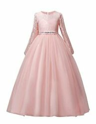DOCHEER Fancy Girls Dress Tulle Lace Wedding Bridesmaid 1023 Pink Size 13.0 9N $13.99