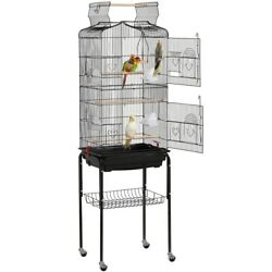 64#x27;#x27; Open Top Small Parrot Cockatiel Conure Parakeet Bird Cage with Stand $58.80