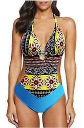 Swimsuits for Women One Piece Halter Ruched Padded Light Blue Size Small ZqoE $9.99