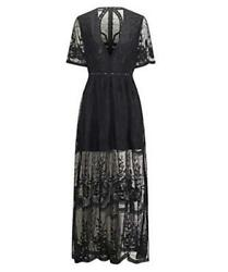 BOMBAXCEIBA Women Lace Maxi Long Maternity Gown Photography Black Size Large $26.75