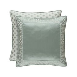 J Queen New York Lombardi Spa Euro Sham NEW Blue 26 x 26 Embroidered Cover $44.97