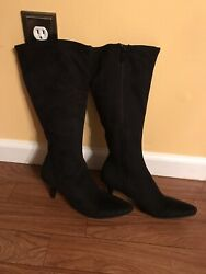Womens Boots Black Suede Impo Stretch Excellent Worn Once Condition Size 8 $30.00