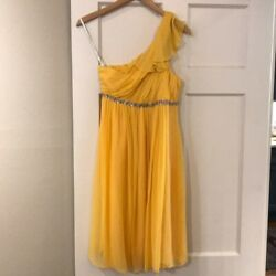 Kay Unger Gold Dress Cocktail Size 2 Knee Length Sleeveless One Shoulder Chiffon $29.99