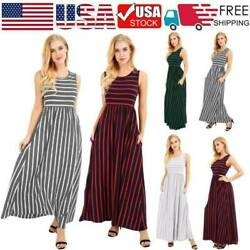 Women Summer Casual Long Maxi Dress Loose Beach Party Sleeveless Sun Dresses Kr $9.89