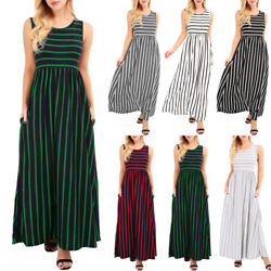 Women Striped Sleeveless Long Dress Waist Casual Beach Sundress Party Dresses Kr $9.89