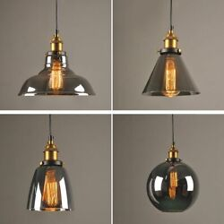 Industrial Pendant Lights Smoky Glass Vintage Dining Room Lighting Hanging Lamps $110.99