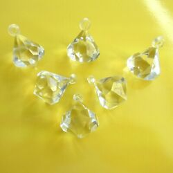 6 Faceted Acrylic Lucite Clear Chandelier Prisms Pointed Drop Pendant $17.85