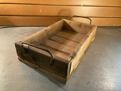 Small Crate Wood Tray w Metal Handles C $20.00